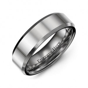 Personalised Men's Beveled Edge Polished Tungsten Ring - Custom Made By Yaffie™