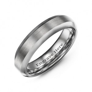 Personalised Men's Brushed Centre Polished Tungsten Ring - Custom Made By Yaffie™