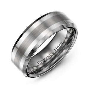 Personalised Men's Brushed Centre Stripe Polished Tungsten Ring - Custom Made By Yaffie™