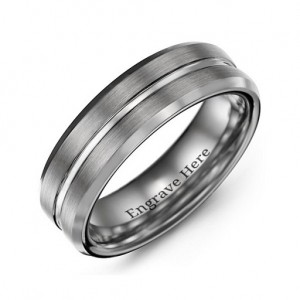 Personalised Men's Brushed Grooved Centre Beveled Tungsten Ring - Custom Made By Yaffie™