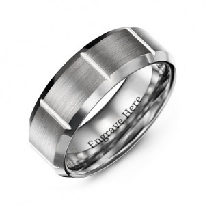 Personalised Men's Brushed Vertical Grooved Polished Tungsten Ring - Custom Made By Yaffie™