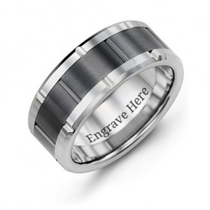 Personalised Men's Grooved Bicolour Tungsten Ring - Custom Made By Yaffie™