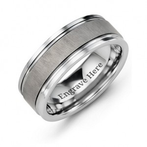 Personalised Men's Grooved Tungsten Ring with Brushed Centre - Custom Made By Yaffie™