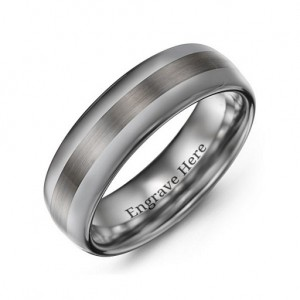 Personalised Men's Polished Brushed Centre Tungsten Ring - Custom Made By Yaffie™