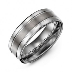 Personalised Men's Polished Tungsten Brushed Centre Ring - Custom Made By Yaffie™