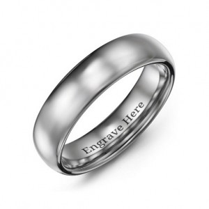 Personalised Men's Polished Tungsten Dome 6mm Ring - Custom Made By Yaffie™