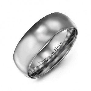Personalised Men's Polished Tungsten Dome 8mm Ring - Custom Made By Yaffie™