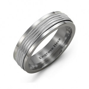 Personalised Men's Ribbed Centre Tungsten Band Ring - Custom Made By Yaffie™