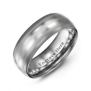 Personalised Men's Tungsten Polished Triple Stripe Satin Centre Ring - Custom Made By Yaffie™