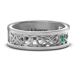 Personalised Men's TwoStone Interwoven Infinity Band - Custom Made By Yaffie™