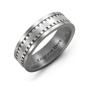 Personalised Men's Vertical Grooved Centre Tungsten Band Ring - Custom Made By Yaffie™