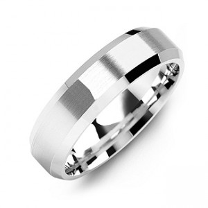 Personalised Modern Brushed Men's Ring with Beveled Edges - Custom Made By Yaffie™