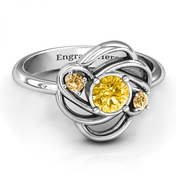 Personalised Multi Stone Love Knot Ring - Custom Made By Yaffie™