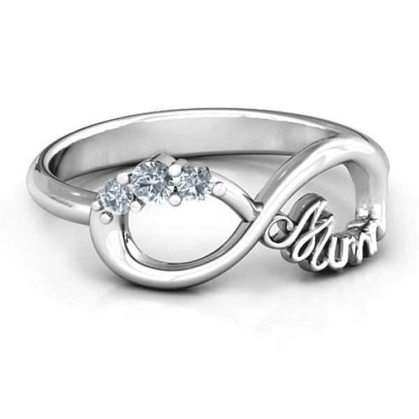 Personalised Mum's Infinite Love with Stones Ring - Custom Made By Yaffie™