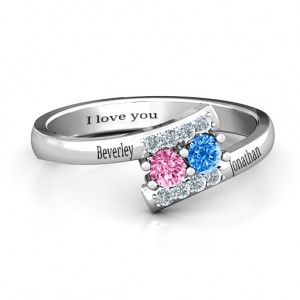Personalised Must Be Love Two Stone Ring - Custom Made By Yaffie™