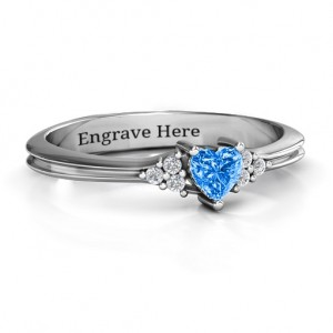 Personalised Narrow Heart Ring with Shoulder Accents - Custom Made By Yaffie™