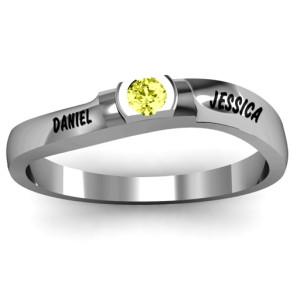 Personalised Open Bezel Set Swirl Ring - Custom Made By Yaffie™