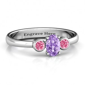 Personalised Oval Centre with Twin Bezel Rounds Ring - Custom Made By Yaffie™