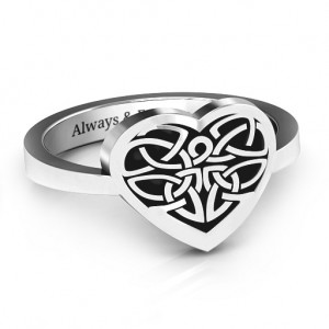 Personalised Oxidized Celtic Heart Ring - Custom Made By Yaffie™