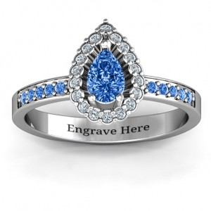 Personalised Pear Shaped Halo Ring - Custom Made By Yaffie™
