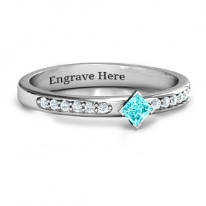 Personalised Princess Centre Stone Ring with Twin Accent Rows - Custom Made By Yaffie™