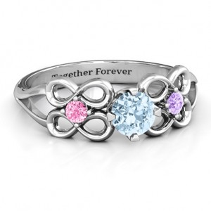 Personalised Quad Infinity Ring with Centre stone and Dual Accent Ring - Custom Made By Yaffie™