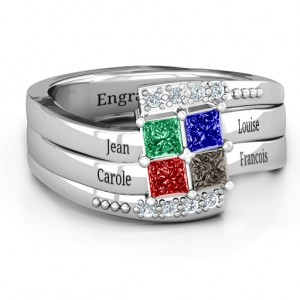 Personalised Quad Princess Stone Ring with Accents - Custom Made By Yaffie™