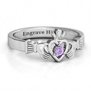 Personalised Round Stone Claddagh Ring - Custom Made By Yaffie™