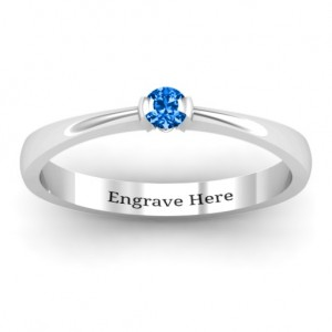 Personalised Semi Bezel Set Solitaire Ring - Custom Made By Yaffie™