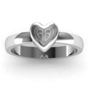 Personalised Small Engraved Monogram Heart Ring - Custom Made By Yaffie™