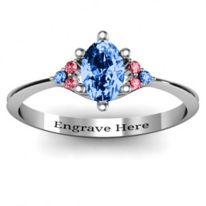 Personalised Solitaire Oval with Triple Accents Ring - Custom Made By Yaffie™