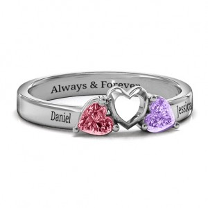Personalised Sparkling Sweethearts TwoStone Ring - Custom Made By Yaffie™