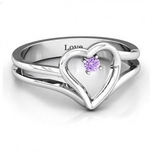 Personalised Split Shank Heart Ring - Custom Made By Yaffie™