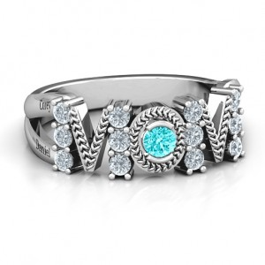 Personalised Split Shank Stone Filled MOM Ring - Custom Made By Yaffie™