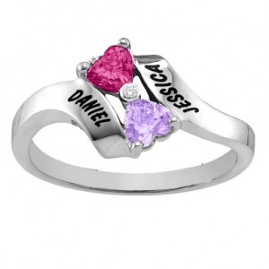 Personalised Rhapsody Kissing Hearts Ring - Custom Made By Yaffie™