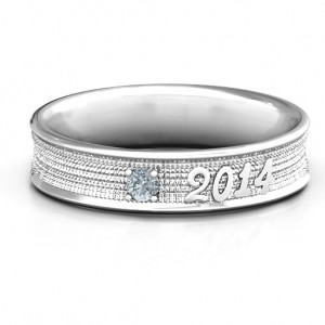 Personalised 2014 Unisex Textured Graduation Ring with Emerald Stone - Custom Made By Yaffie™