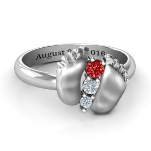 Personalised Baby Foot Birthstone Ring - Custom Made By Yaffie™
