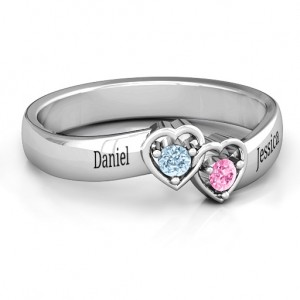 Personalised Double Interlocked Hearts Ring - Custom Made By Yaffie™