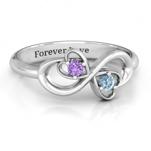 Personalised Duo of Hearts and Stones Infinity Ring - Custom Made By Yaffie™