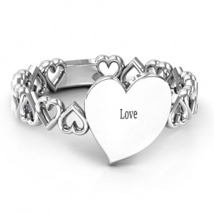 Personalised Engravable Cut Out Hearts Ring - Custom Made By Yaffie™