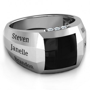 Personalised Engravable Statement 6Stone Men's Ring - Custom Made By Yaffie™