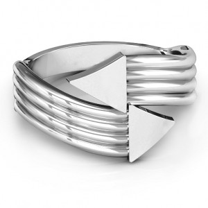 Personalised Geometric Arrows and Triangles Bypass Ring - Custom Made By Yaffie™