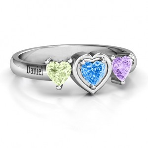 Personalised Heart Stone with Twin Heart Accents Ring - Custom Made By Yaffie™