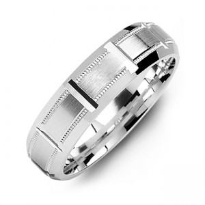 Personalised HorizontalCut Men's Ring with Beveled Edge - Custom Made By Yaffie™