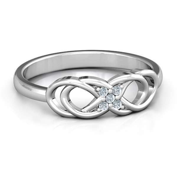 Personalised Infinity Knot Ring with Accents - Custom Made By Yaffie™