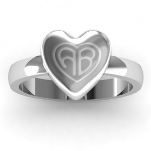 Personalised Large Engraved Monogram Heart Ring - Custom Made By Yaffie™