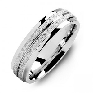 Personalised LaserFinish Men's Ring with Polished Edges - Custom Made By Yaffie™