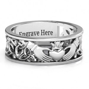 Personalised Men's Celtic Claddagh Band Ring - Custom Made By Yaffie™