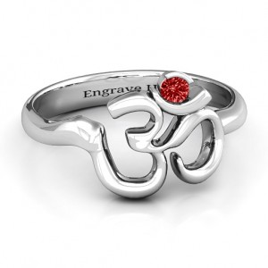 Personalised Om Sound of Universe Ring with Round Stone - Custom Made By Yaffie™