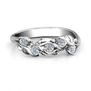 Personalised Organic Leaf Five Stone Family Ring - Custom Made By Yaffie™